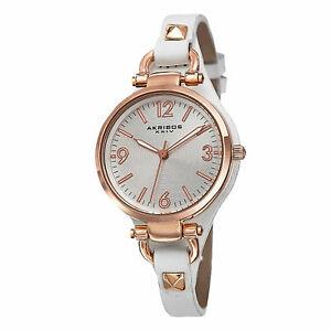 【送料無料】 腕時計 スイスクオーツレザーストラップウォッチwomens akribos xxiv ak761wtr swiss quartz decorated thin leather strap watch