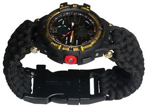 【送料無料】 腕時計 クリスマススポーツブレスレットコンパスフリントchristmas survival sport army men watch bracelet compass flint paracord whistle