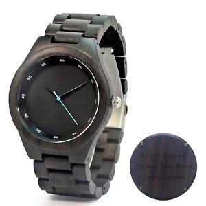 【送料無料】 腕時計 カスタムフリーウォッチengraved ebony wood watch custom wood watch groomsmen gift watch free engraving