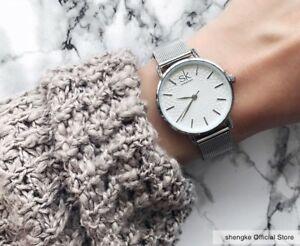 【送料無料】 腕時計 スリムシルバーメッシュステンレススチールカジュアルラウンドレディースwatches women slim silver mesh stainless steel casual round ladies wristwatch