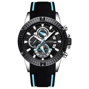 【送料無料】 腕時計 スポーツクロノグラフアナログクォーツシリコンストラップウォッチmen military sports chronograph analog quartz waterproof silicone strap watches