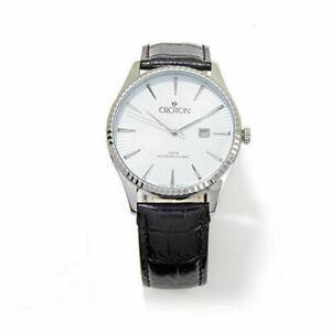 【送料無料】 腕時計 クロトンステンレススチールブラックレザーストラップウォッチトラベルケース