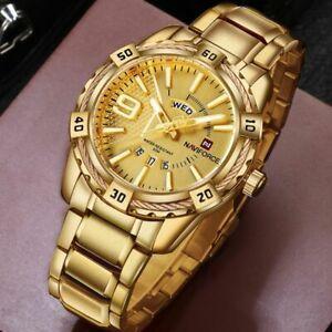 【送料無料】 腕時計 メンズスポーツウォッチゴールドフルスチールクォーツメンズmens sport watch gold full steel quartz watches mens date waterproof military