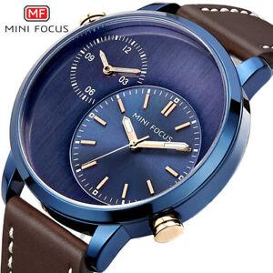 【送料無料】 腕時計 ミニフォーカスタイムゾーンスポーツレザーミリタリーmini focus men two time zone sports leather military waterproof wrist watch