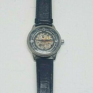 【送料無料】 腕時計 スケルトンウォッチメンズakribos xxiv skeleton watch ak410ssa genuine leather mens wristwatch