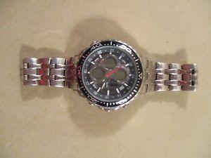 【送料無料】 腕時計 メンズステンレスデジタルアンプアナログウォッチmens stainless elgin digital amp; analog mzb watch