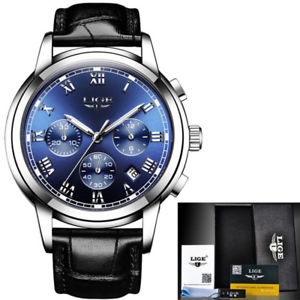 【送料無料】 腕時計 クロノグラフビジネスmen fashion business date waterproof multifunction chronograph leather watches