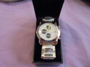 【送料無料】 腕時計 メンズステンレススチールmens heavy stainless steel cronograph watch
