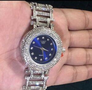 【送料無料】 腕時計 orignal14kホワイトゴールドblingblingbrand with orignal box 14k white gold plated bling bling watch