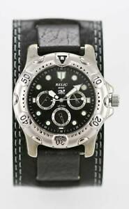 【送料無料】 腕時計 メンズステンレスシルバーmブラックレザークォーツ