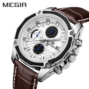 【送料無料】 腕時計 megirクオーツクロノグラフクリスマスmegir genuine leather watches quartz men fashion chronograph xmas gifts for him