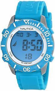 【送料無料】 腕時計 nauticaデジタルゴムシリコーンindiglo n09929gnsr 100nautica light blue digital watch rubber silicone strap indiglo n09929g nsr 100