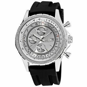 【送料無料】 腕時計 メンズジョシュアシルバートーンマルチファンクションブラックラバーストラップウォッチ