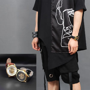 【送料無料】 腕時計 メンズセルフゴールドラウンドレザーストラップウォッチショップmens self winding gold transparent round leather strap watch 018, gentler shop