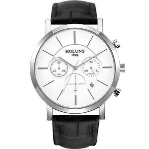 【送料無料】 腕時計 サファイアガラスクォーツウォッチholuns men sapphire glass quartz wristwatches leather date waterproof watch