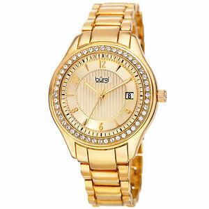 【送料無料】 腕時計 バールスワロフスキークリスタルウィンドウゴールドトーンブレスレットwomens burgi bur135yg swarovski crystal date window goldtone bracelet watch