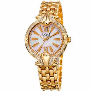 【送料無料】 腕時計 burgibur163ygスワロフスキーwomens burgi bur163yg swarovski crystal bezel mother of pearl bracelet watch