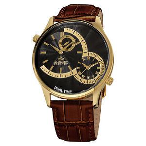 【送料無料】 腕時計 シュタイナーデュアルタイムブラウンレザーストラップ mens august steiner as8010ygbr quartz dual time brown leather strap watch