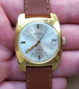 【送料無料】 腕時計 ビンテージソvintage wostok 18 jewels soviet watch gold plated