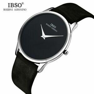 【送料無料】 腕時計 ibso 7mm ultraibso 7mm ultra thin mens quartz watches luxury genuine leather waterproof