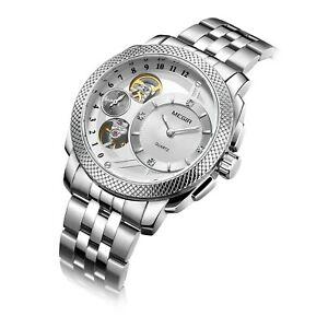 【送料無料】 腕時計 ファッションスポーツレザーミリタリーウォッチmegir fashion sports quartz wrist watch men luxury leather military waterproof