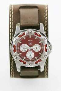 【送料無料】 腕時計 2450mクオーツrelic wet watch men red day date 24hr stainless silver 50m brown leather quartz