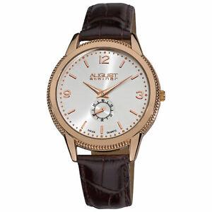 【送料無料】 腕時計 シュタイナーローズトーンスイスクオーツブラウン mens august steiner as8020rg rosetone swiss quartz brown leather watch