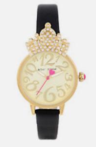 【送料無料】 腕時計 ジョンソンクリスタルクラウンケースブラックストラップウォッチ