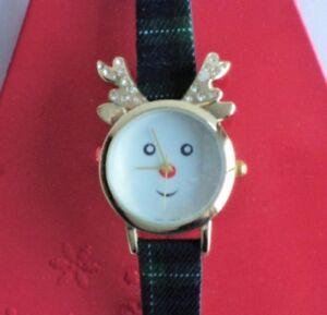 【送料無料】 腕時計 クリスマスサンタトナカイ listing cute watch christmas holiday season santa reindeer