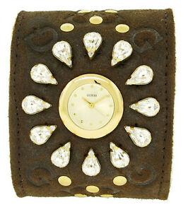 【送料無料】 腕時計 ゲス12545l1アナログスエードアクリルウォッチguess 12545l1 womens round analog clear stones brown suede acrylic wool watch