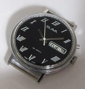 【送料無料】 腕時計 スラソソローマexport slava military soviet ussr wristwatch 26j dayamp;date 1980s roman numerals