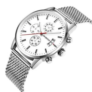 【送料無料】 腕時計 クオーツステンレスメッシュmen women decorative quartz wristwatch stainless steel mesh strap with date whit