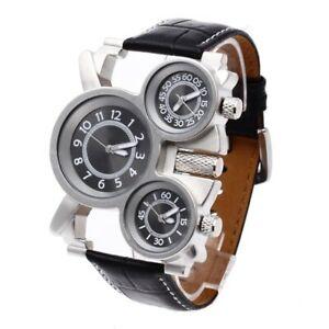 【送料無料】 腕時計 メンズミリタリークォーツムーブメントブラックレザーストラップ