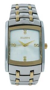【送料無料】 腕時計 エルギンfg9061stアナログストーンelgin fg9061st mens silver tone analog clear stone indices rectangular watch