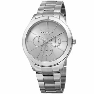 【送料無料】 腕時計 ブレスレットwomens akribos xxiv ak952ss military time date complication bracelet watch