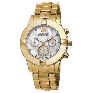 【送料無料】 腕時計 8シュタイナーas8107ygスイスmopウォッチ womens august steiner as8107yg swiss quartz crystal mop goldtone watch