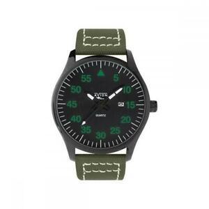 【送料無料】 腕時計 メンズレザーファブリックグリーンブラック