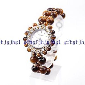 【送料無料】 腕時計 アフリカタイガーアイラウンドビーズクオーツブレスレット natural 2 rows african tigers eye round beads quartz wristwatch bracelet