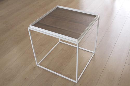 トレイテーブル400角WHウォールナット突板 サイドテーブル ローテーブル スタッキングシェルフ 日本製 メーカー直販 アイアン テーブル おしゃれ ナイトテーブル ベッドサイドテーブル 北欧 モダン  トレイテーブル お洒落 新生活 一人暮らし 人気 デザイン