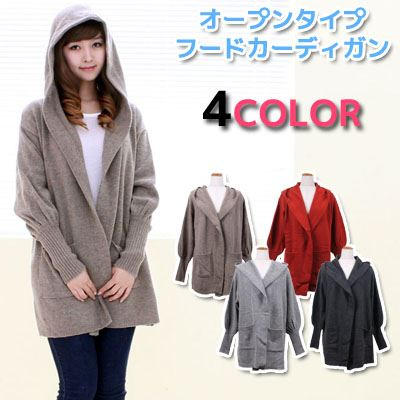 Opening TYPE dolman cardigan / cardigan / jacket / outer / long length / one piece length / Lady's / mail order [M service impossibility] with pocket & food