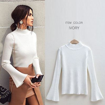 0cf855f8 A half high neck trumpet sleeve long sleeves rib knit tops neck, I mean  fashion mail order [M service 10/10] lady's in knit bell sleeve flare  sleeve ...