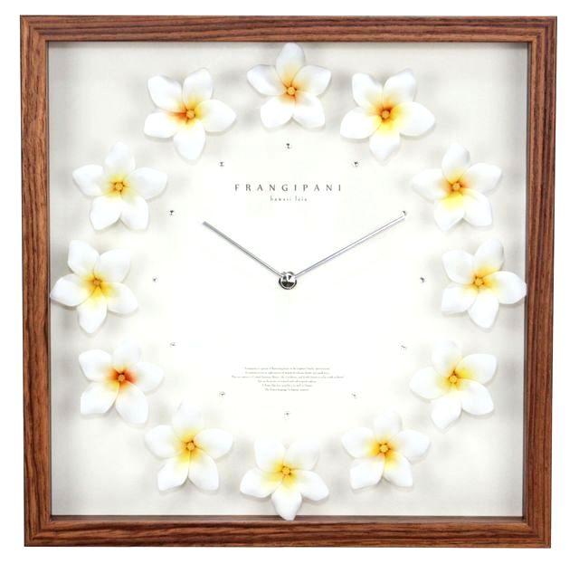 ハワイアン インテリア ハワイアン 雑貨 時計 掛け時計 ハワイアン クロック プルメリア 時計(ホワイト&イエロー ナチュラル) かわいい おしゃれ ハワイアン雑貨 ハワイアン 家具 ハワイ お土産 ハワイアン インテリア 送料無料