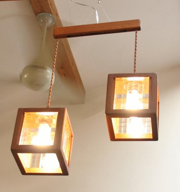 ペンダントライト オリジナル照明 北欧 ステンドグラス LED おしゃれ 2灯タイプ 【Houzeクロスペン2】