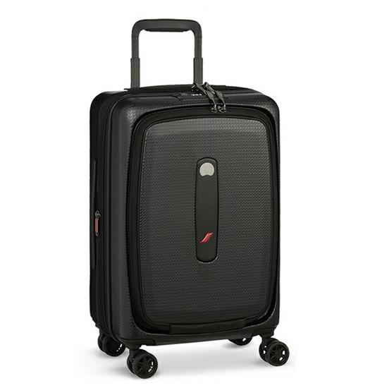 【キャッシュレスで5%還元】DELSEY デルセー フロントオープン スーツ ケース 機内持ち込み 小型 キャリーケース キャリーバッグ 42L 静音 ブラック