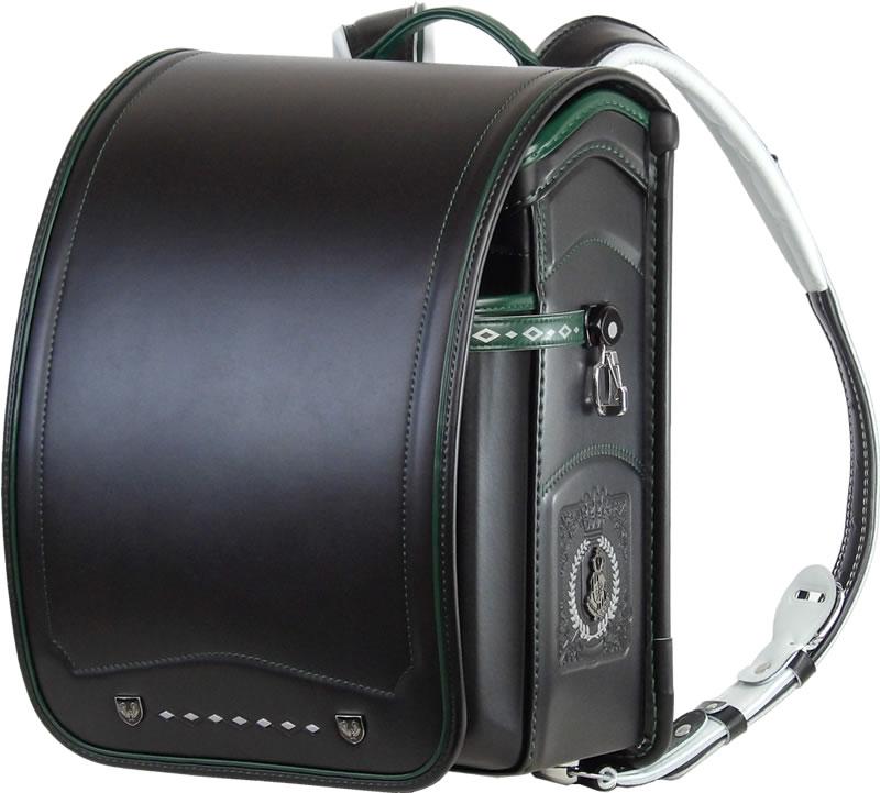 ふわりぃ 耐傷 ランドセル パイピンコンビ メガポケットモデル (黒×グリーン)A4フラットファイル対応  送料無料