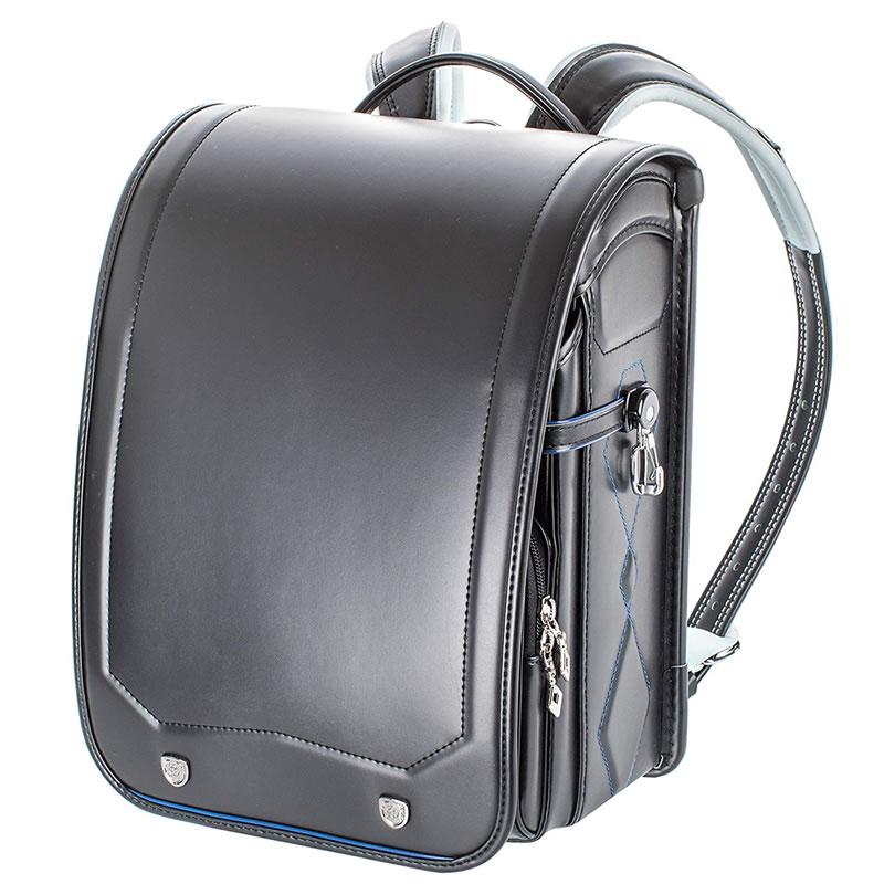 ランドセル ふわりぃ 耐傷 レミニカ シールドモデル 黒×スパークブルーステッチ A4フラットファイル対応 送料無料