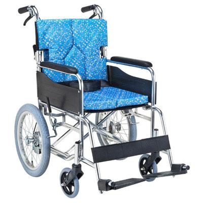 【送料無料】マキライフ非課税SMK30-4243KSスタンダードモジュール車いす(介助式・背折れ)小花ブルー