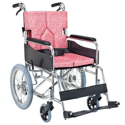 【送料無料】マキライフ非課税SMK30-4243KPスタンダードモジュール車いす(介助式・背折れ)小花ピンク