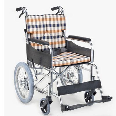 【送料無料】マキライフ非課税SMK30-4243COスタンダードモジュール車いす(介助式・背折れ)チェックオレンジ