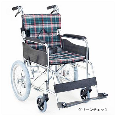【送料無料】マキライフ非課税SMK30-3843GCスタンダードモジュール車いす(介助式・背折れ)グリーンチェック
